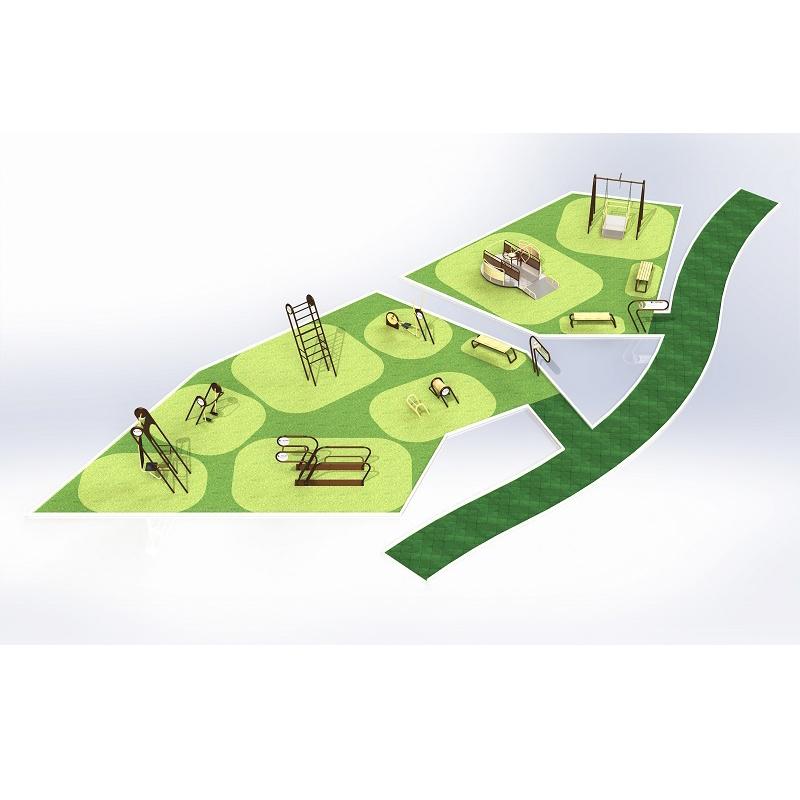 Спортивная площадка для инвалидов и лиц без физических ограничений (87+150 кв.м.)