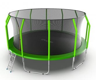 Батут с внутренней сеткой и лестницей EVO JUMP Cosmo 16ft (Green)