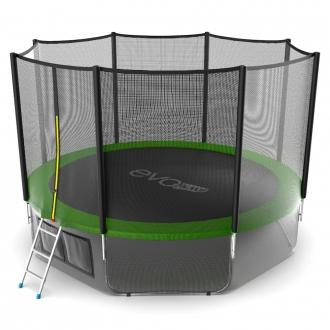 Батут с внутренней сеткой и лестницей EVO JUMP External 12ft (Green) + Lower net