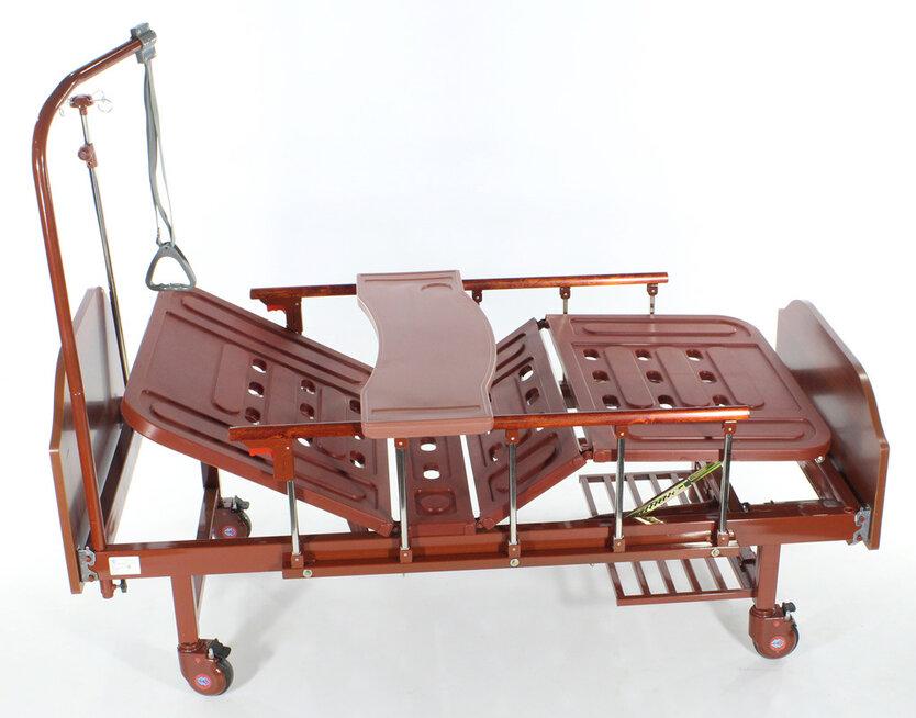 Медицинская кровать Med-Mos Е-8 MM-118ПЛН (2 функции) ЛДСП с полкой и обеденным столиком