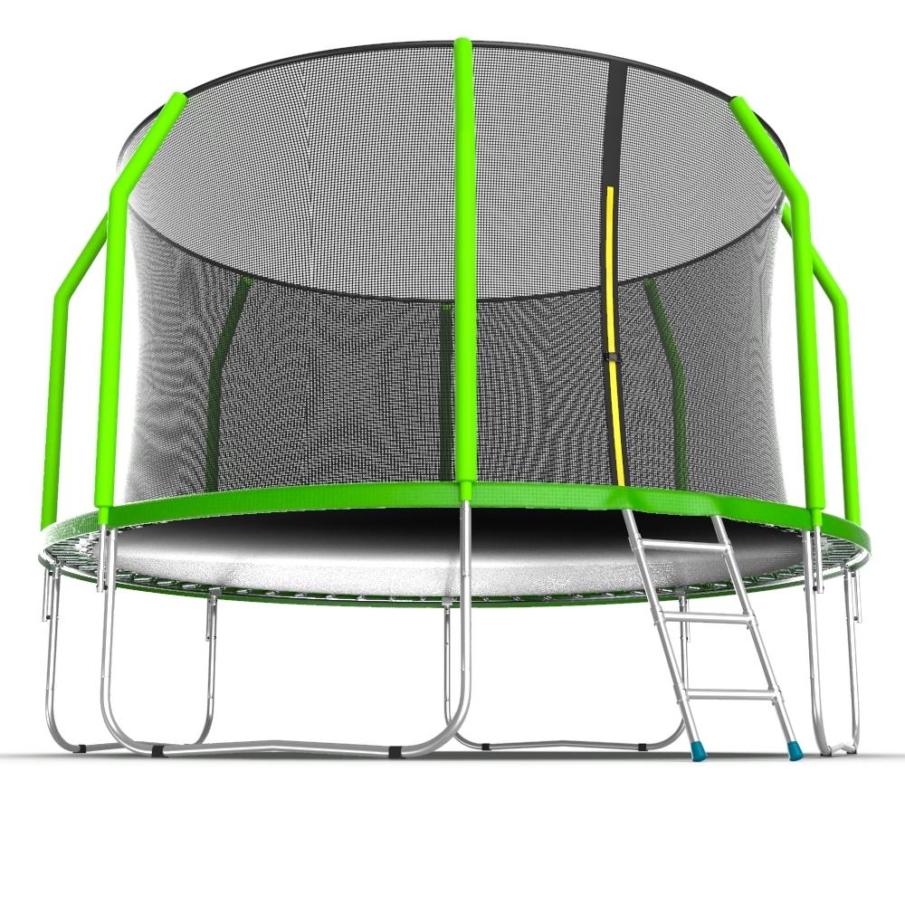 Батут с внутренней сеткой и лестницей EVO JUMP Cosmo 12ft (Green)