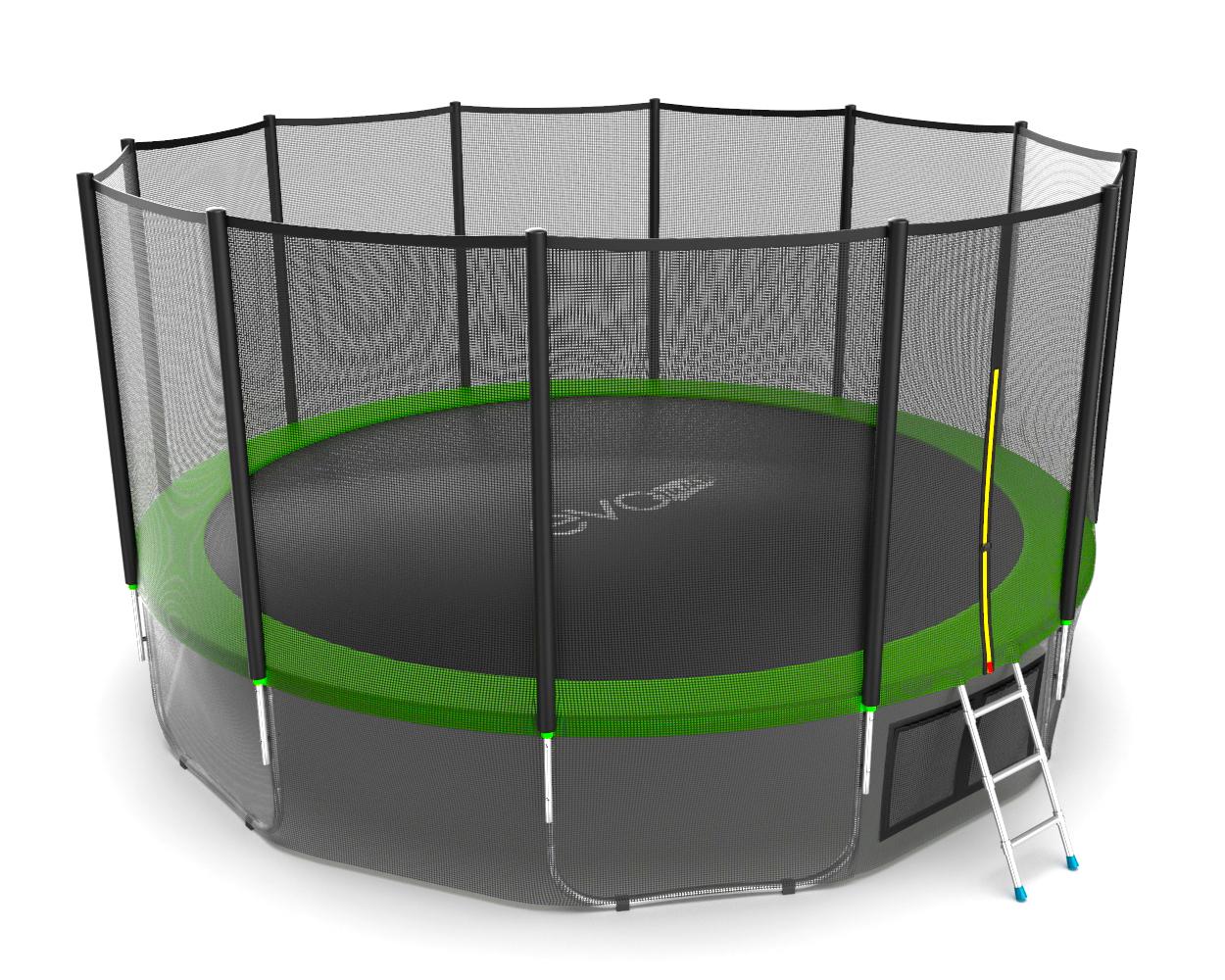 Батут с внутренней сеткой и лестницей EVO JUMP External 16ft (Green) + Lower net