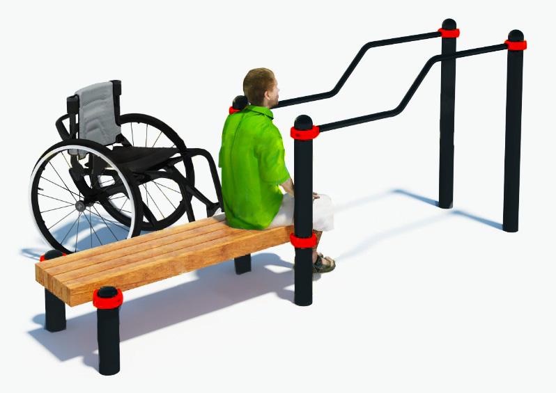 Брусья двухуровневые со скамьей для инвалидов-колясочников W-8.05