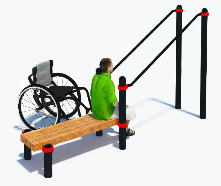 Брусья наклонные со скамьей для инвалидов-колясочников W-8.06