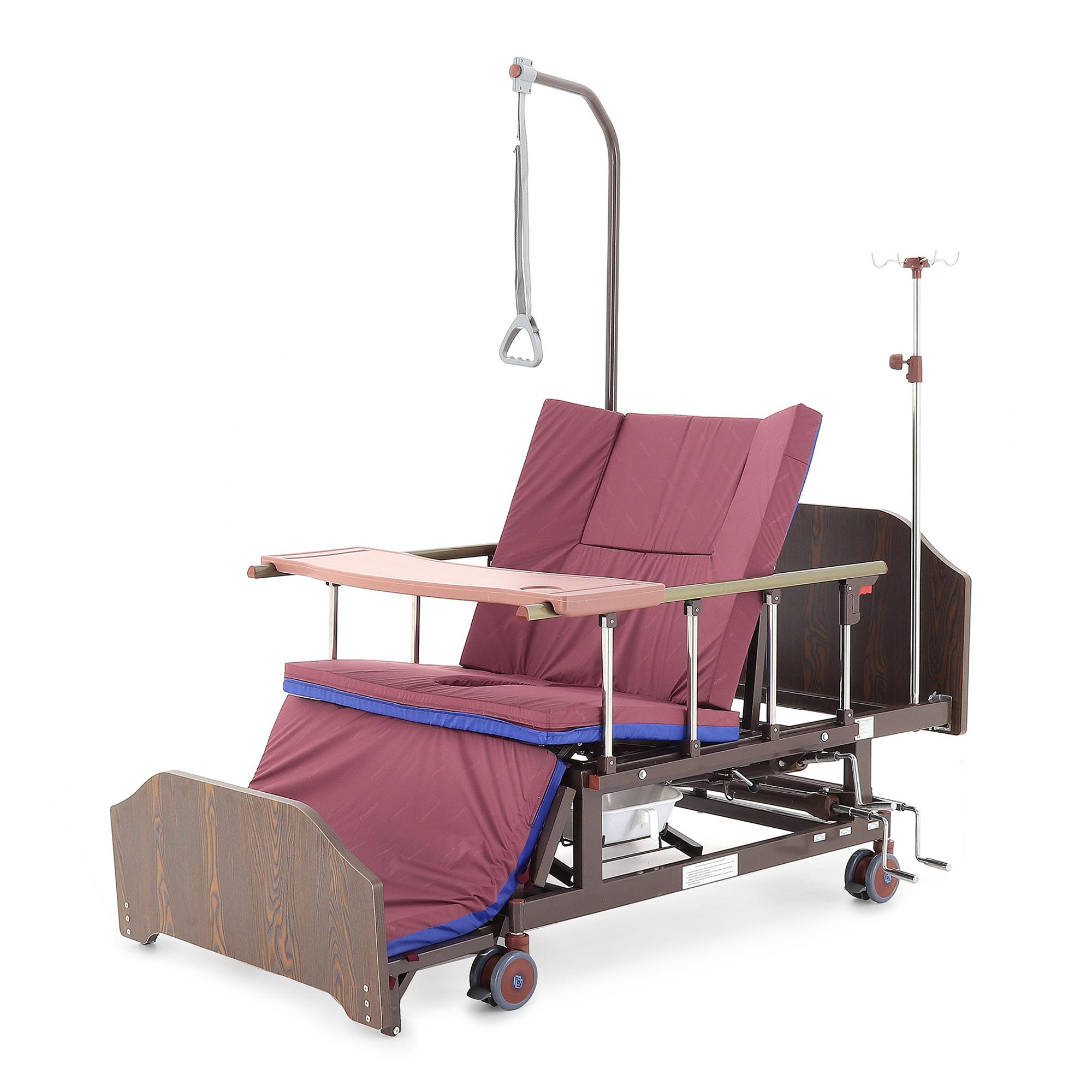 Кровать механическая Мед-Мос Е-45А (ММ-5124Н-10) с боковым переворачиванием, туалетным устройством и функцией «кардиокресло»