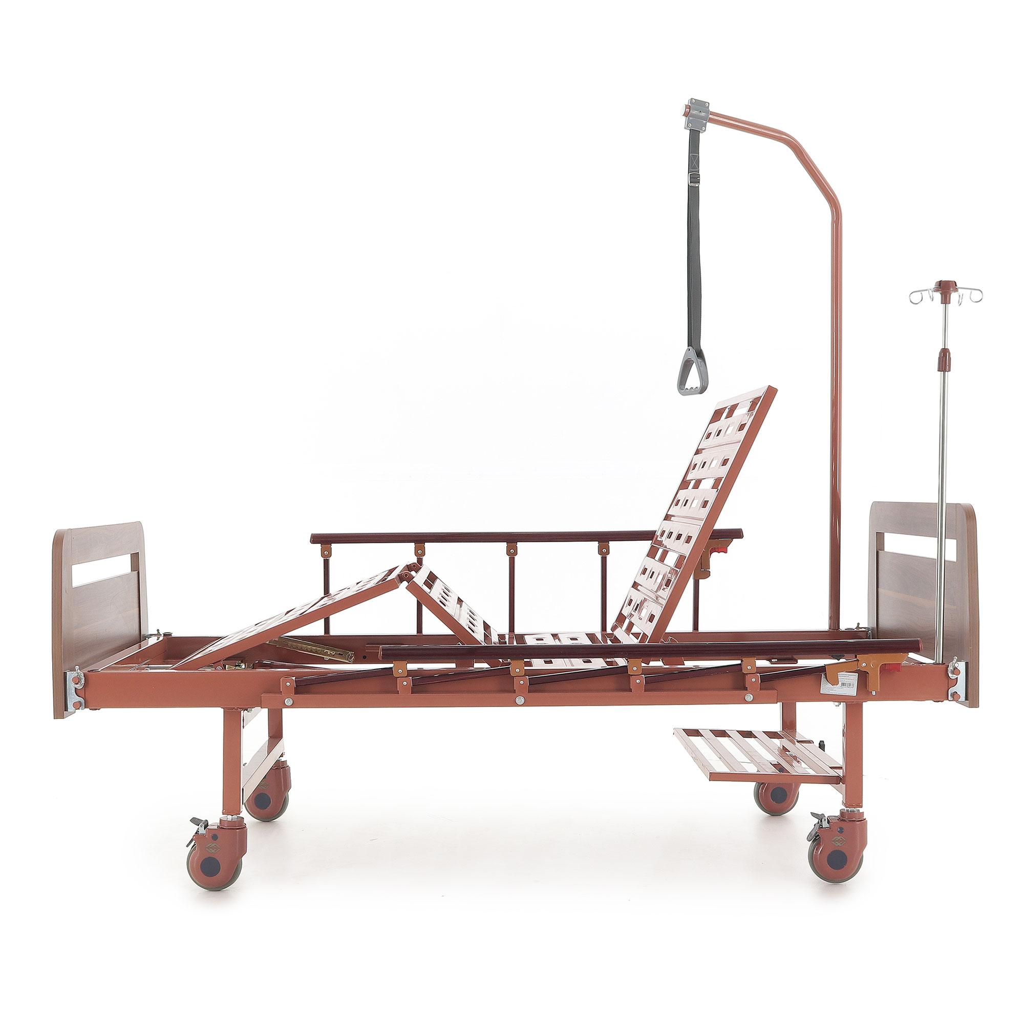 Медицинские кровати с механическим приводом Med-Mos  Е-8 (MM-2024Н-00) (2 функции) ЛДСП с полкой и обеденным столиком