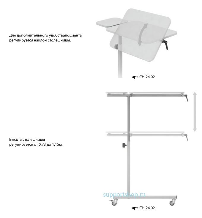 Стол прикроватный с поворотной столешницей СН-24.02 (две столешницы)