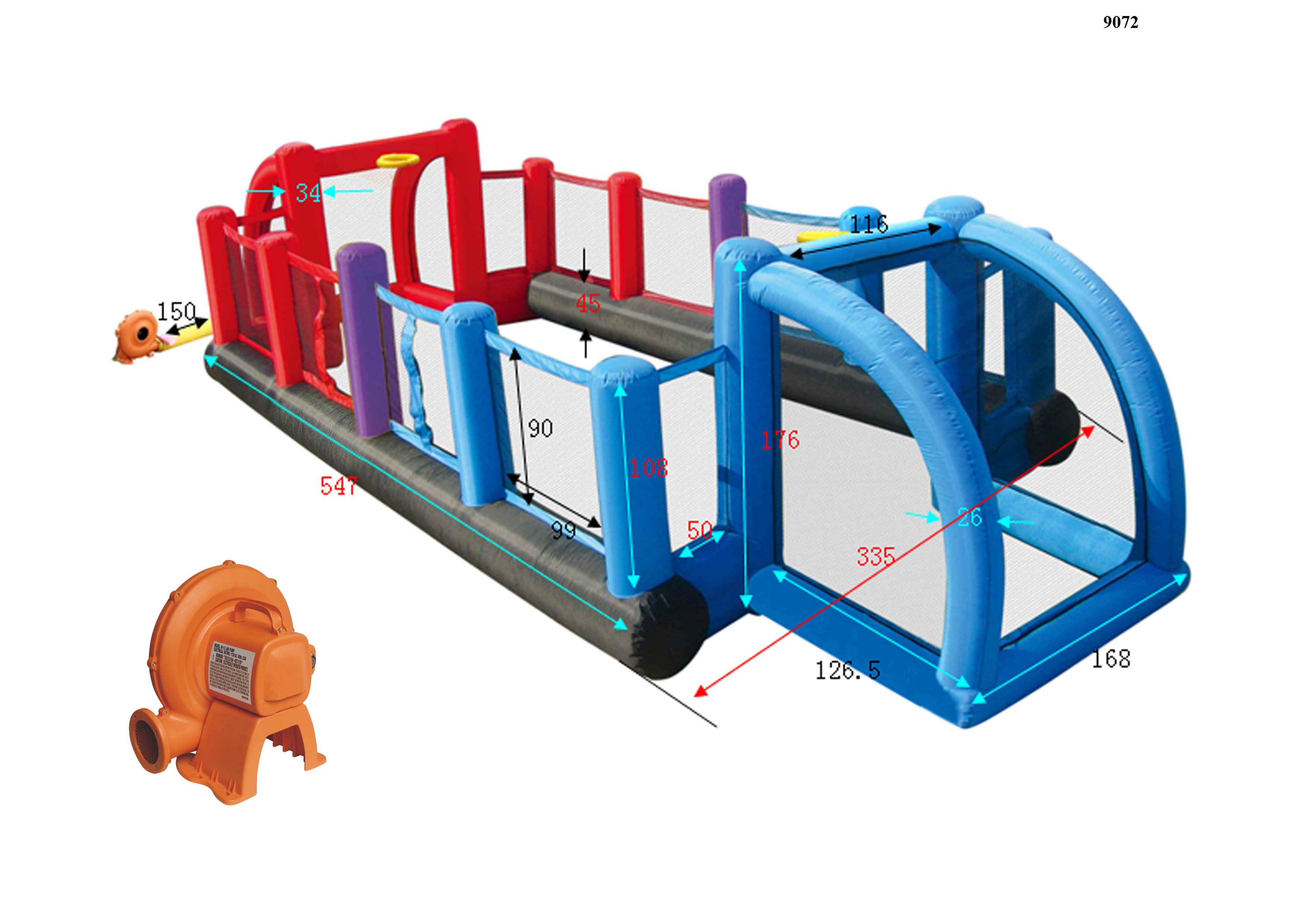 Детский надувной спортивный комплекс HAPPY HOP 9072N