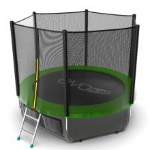 Батут с внутренней сеткой и лестницей EVO JUMP External 8ft (Green) + Lower net