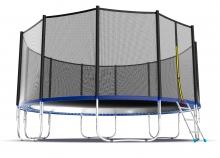 Батут с внутренней сеткой и лестницей EVO JUMP External 16ft (Blue)